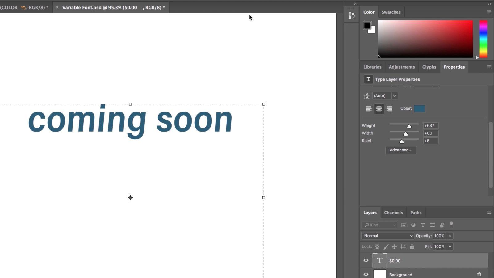 Как сделать шрифт в фотошоп