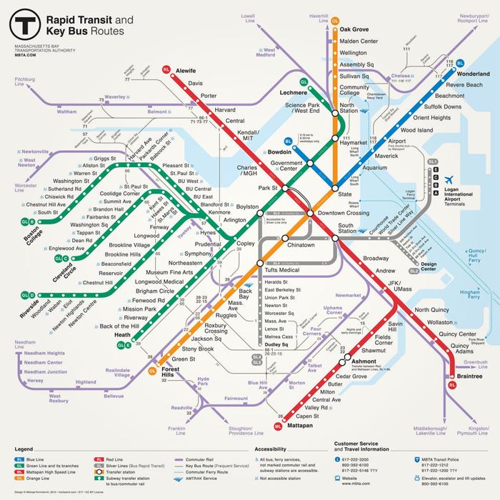 бостонской схемы метро